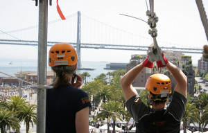 Riding the Zip Line at Justin Herman Plaza