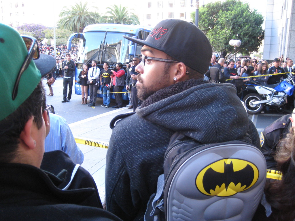 "Adam Clay, of Vallejo, brought his Batman backpack today as he  and a friend headed to San Francisco's Union Square to catch some of the  ""Batkid"" activities. PHOTO BY MELISSA MCROBBIE"