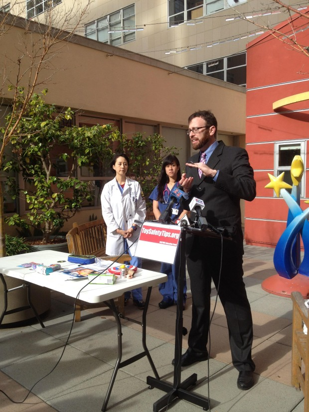 UCSF Benioff Children's Hospital staff and CALPIRG representatives held a news conference today to release CALPIRG's annual report on dangerous toys. Pictured, from left to right, are Dr. Christine Cho, Dr. Nisa Atigapramok, and CALPIRG consumer advocate Jon Fox.