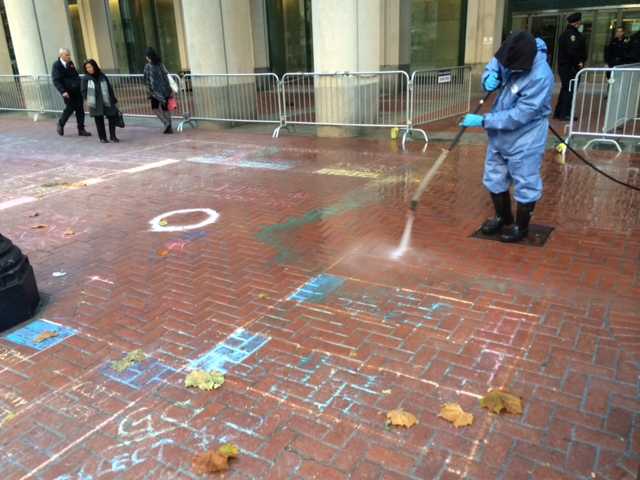 A group protesting the policies of the Federal Reserve used chalk to draw a Monopoly game board on the sidewalk in front of the Federal Reserve Bank of San Francisco on Monday, December 23 2013. Photo: Dan McMenamin