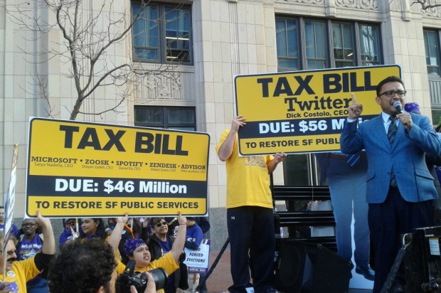 """You gave all our money away"": City Workers Protest Twitter Tax Break"
