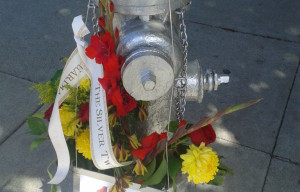 Silver Twin Fire Hydrants Painted To Honor Contributions In 1906 Earthquake And Fire