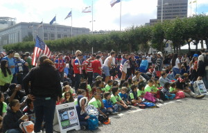 Large Crowds for US Soccer Screening at Civic Center Plaza