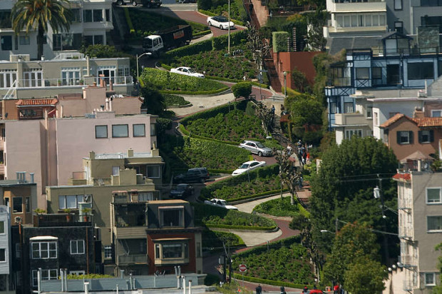 Pedestrians Take Over Lombard Street During Closure To Vehicles