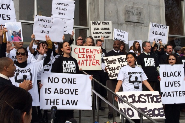 Public Defenders Hold Demonstration to Call for Racial Equality in Judicial System