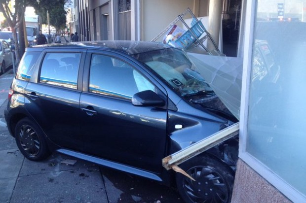 Uber-Affiliated Car Crashes into SoMa Building
